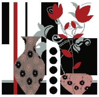 VARMOD-1: Gráfico de punto de cruz para descargar en PDF, imprimir y bordar dibujo moderno de jarrones y flores