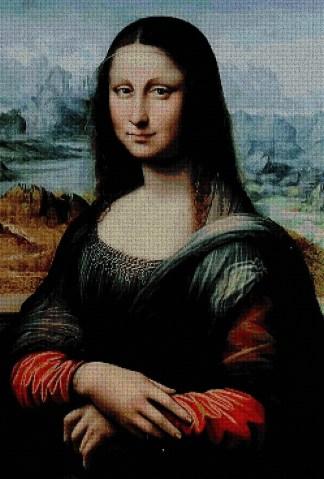 """VINCI1089: Gráfico de punto de cruz para descargar en PDF, imprimir y bordar dibujo basado en el cuadro de Leonardo da Vinci """"La Gioconda"""" ó Monalisa"""