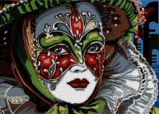 VARCAR-1: Gráfico de punto de cruz para descargar en PDF, imprimir y bordar dibujo de mujer disfrazada en Carnaval