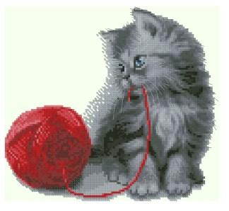 ANIGITO-2: Gráfico de punto de cruz para descargar GRATIS en PDF al comprar ANIGITO, imprimir y bordar gatito jugando con ovillo de lana