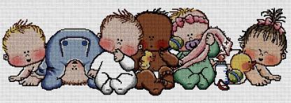 BBVAR: Gráfico de punto de cruz para descargar en PDF, imprimir y bordar dibujo de bebés de varias razas