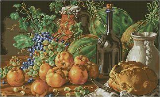 BODEGON-4: Gráfico de punto de cruz para descargar en PDF, imprimir y bordar bodegón con pan, vino y frutas