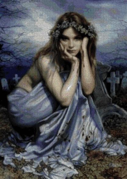FANCOLET: Gráfico de punto de cruz para descargar en PDF, imprimir y bordar vampiresa en cementerio