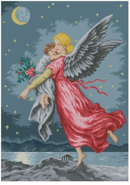 INFANG-3: Gráfico de punto de cruz para descargar GRATIS en PDF al comprar INFANG-2, imprimir y bordar dibujo de niño protegido por su ángel de la guarda