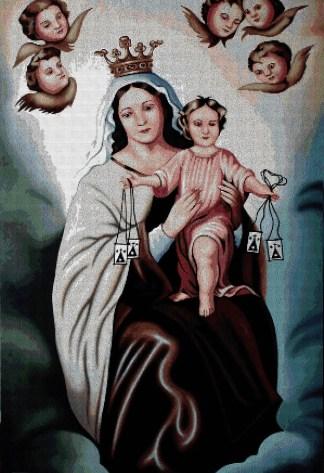RELICAR: Gráfico de punto de cruz para descargar en PDF, imprimir y bordar imagen de la Virgen del Carmen y el Niños Jesús