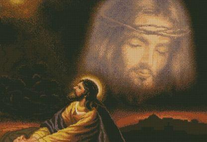 RELIREZO-1: Gráfico de punto de cruz para descargar GRATIS en PDF al comprar RELIREZ, imprimir y bordar dibujo de apóstol rezando a Jesús