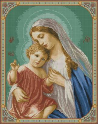RELIVYN-1: Gráfico de punto de cruz para descargar en PDF, imprimir y bordar dibujo de la Virgen María con el Niño Jesús