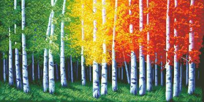TREES-1: Gráfico de punto de cruz para descargar en PDF, imprimir y bordar dibujo de árboles en varios colores