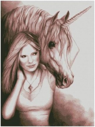 UNICORN-1: Gráfico de punto de cruz para descargar en PDF, imprimir y bordar dibujo de Unicornio y mujer