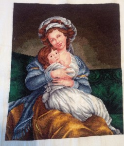 "Venta de cuadro bordado a punto de cruz: ""Madame Vigee-Lebrun e hija"""
