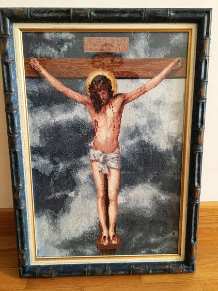 Venta de cuadro bordado a punto de cruz con dibujo del Cristo de Velázquez