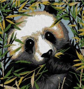 ANIPANDA: Gráfico de punto de cruz para descargar en PDF, imprimir y bordar dibujo de oso panda entre bambú