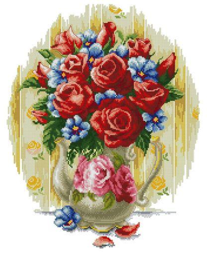 FLVASE-2: Gráfico de punto de cruz para descargar en PDF, imprimir y bordar dibujo de jarrón con rosas rojas