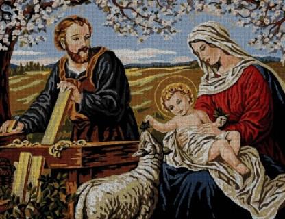 RELIFAM: Gráfico de punto de cruz para descargar en PDF, imprimir y bordar imagen de la Sagrada Familia (Virgen María, San José y Jesús)