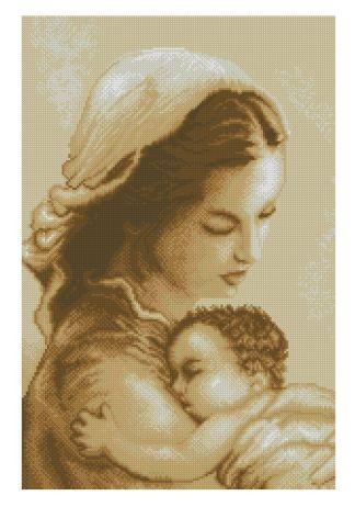 RELIVYN-2: Gráfico de punto de cruz para descargar en PDF, imprimir y bordar imagen de la Virgen María y el Niño Jesús