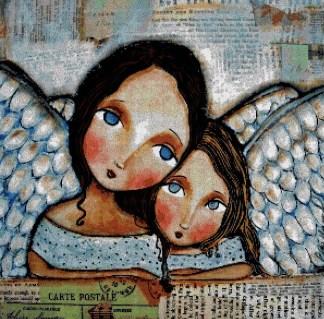 ANGMOM: Gráfico de punto de cruz para descargar en PDF, imprimir y bordar madre e hija ángeles