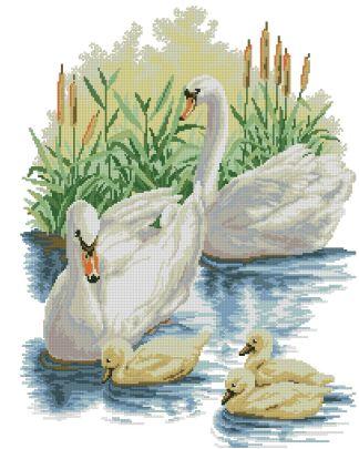 SWANS-1: Gráfico de punto de cruz para descargar en PDF, imprimir y bordar familia de cisnes blancos nadando en lago