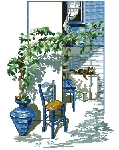TERRAZA-1: Gráfico de punto de cruz para descargar en PDF, imprimir y bordar escena de patio o terraza en verano
