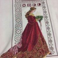 VENTA DE BORDADO A PUNTO DE CRUZ con dibujo de Navidad (Dama de rojo)