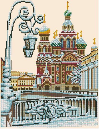 CITIES-1: Gráfico de punto de cruz para descargar en PDF, imprimir y bordar paisaje de San Petersburgo