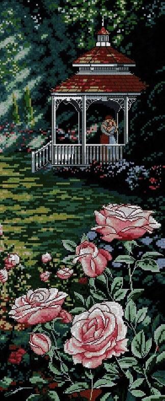 PAJROM: Gráfico de punto de cruz para descargar en PDF, imprimir y bordar escena romántica en jardín florido