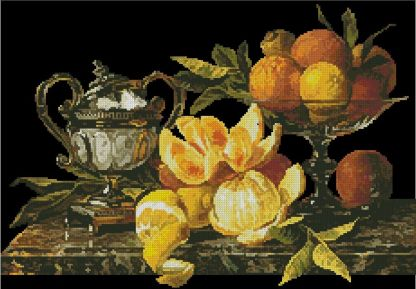 BODEGON-6: Gráfico de punto de cruz para descargar en PDF, imprimir y bordar bodegón con naranjas y limones