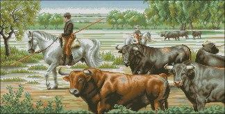 BULLS-1: Gráfico de punto de cruz para descargar en PDF, imprimir y bordar dibujo de toros de lidia en el campo