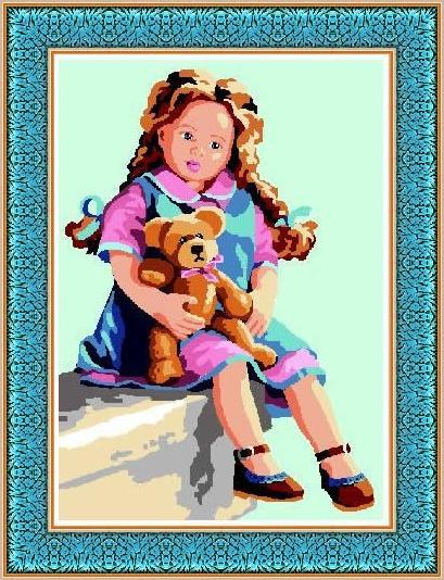 ISABEL: Tela panamá con dibujo impreso de muñeca Isabel con osito, para bordar a punto de cruz
