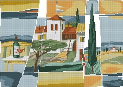 ITALY-1: Gráfico de punto de cruz para descargar en PDF, imprimir y bordar cuadro compuesto por paisajes típicos de Italia.