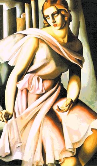 """LEMPICKA-6506: Tela panamá con dibujo impreso del cuadro de Lempicka """"mujer de rosa"""""""