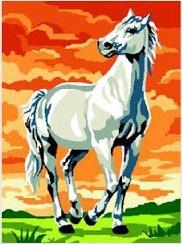 LIPIZANO: Cañamazo/Tela panamá con dibujo impreso de caballo lipizano para bordar en petit point / punto de cruz