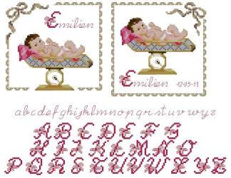 NATALICIO-2: Gráfico de punto de cruz para descargar en PDF, imprimir y bordar natalicio o recuerdo de nacimiento en color rosa