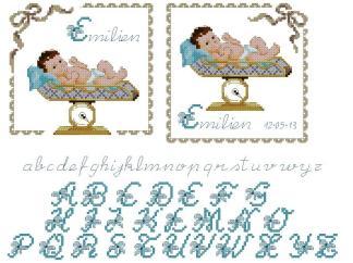 NATALICIO-3: Gráfico de punto de cruz para descargar en PDF, imprimir y bordar natalicio o recuerdo de nacimiento en color azul