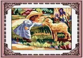 NINA-6903: Tela panamá con dibujo infantil impreso de niña con corderito, para bordar a punto de cruz