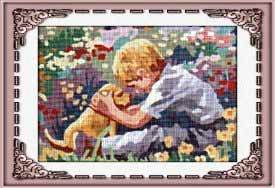 NINO-6901: Tela panamá con dibujo infantil impreso de niño con perrito, para bordar a punto de cruz