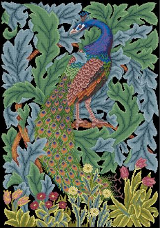"PEACOCK-4: Gráfico de punto de cruz para descargar en PDF, imprimir y bordar dibujo con pavo real, basado en el tapiz de William Morris ""The forest"""