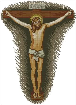"""RELICRISTO-1: Gráfico de punto de cruz para descargar en PDF, imprimir y bordar dibujo basado en el cuadro de Velázque """"Cristo crucificado"""""""