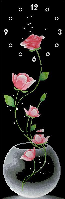 ROSES-3: Gráfico de punto de cruz para descargar en PDF, imprimir y bordar tríptico con reloj y rosas