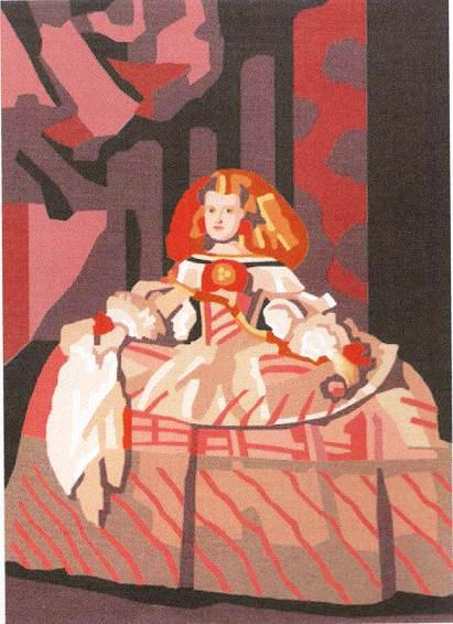 INFANTA-6620: Tela panamá con dibujo impreso del cuadro Infanta Doña Margarita para bordar a punto de cruz