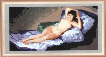 MAJA-6726: Tela panamá con dibujo impreso del cuadro La maja desnuda de Goya