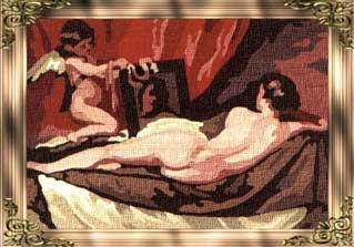 VENUS-6624: Tela panamá con dibujo impreso del cuadro La Venus del espejo de Velázquez