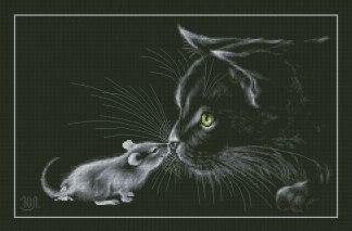 CATS-3: Gráfico de punto de cruz para descargar en PDF, imprimir y bordar dibujo de gato y ratón sobre fondo negro