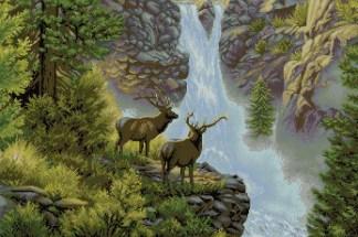 DEER-1: bordado a punto de cruz de ciervos en cascada