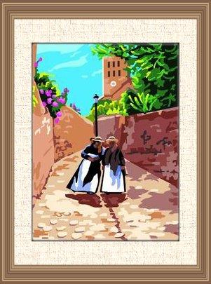 IBIZA-6710: Tela panamá con dibujo impreso la Catedral de Ibiza, para bordar a punto de cruz