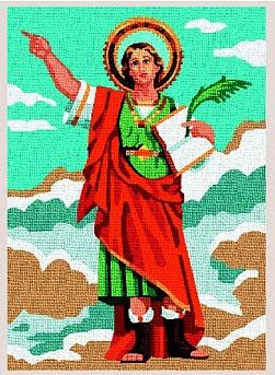 SAN-PANCRACIO: Tela panamá con dibujo impreso de San Pancracio, para bordar a punto de cruz