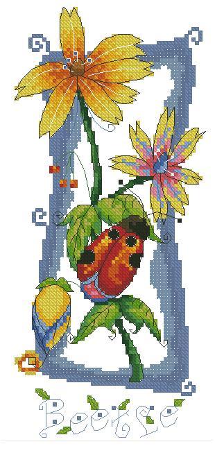 LADYBUG-1: Gráfico de punto de cruz para descargar en PDF, imprimir y bordar dibujo con flores y mariquita