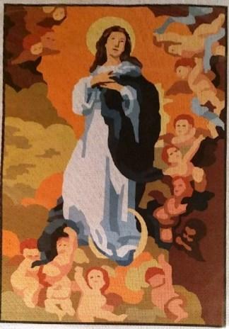 VIRGEN-INMACULADA: Tela panamá con dibujo impreso de la Virgen de la Inmaculada Concepción, para bordar a punto de cruz