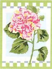 HIBISCUS: Tela panamá con dibujo impreso de una flor de hibisco, para bordar a punto de cruz