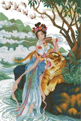 PERCHINA-1: Gráfico de punto de cruz para descargar en PDF, imprimir y bordar mujer china con tigre