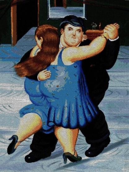 BOTERO-CON: bordado a punto de cruz de cuadro de Botero